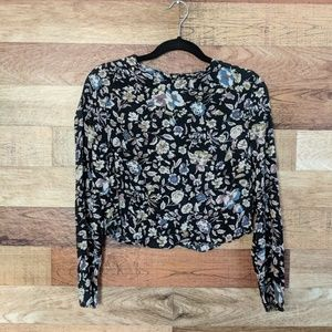Kimchi Blue Floral Long Sleeve Crop Top S